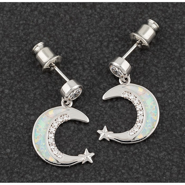 Opalescent Moon Star Platinum Plated Earrings
