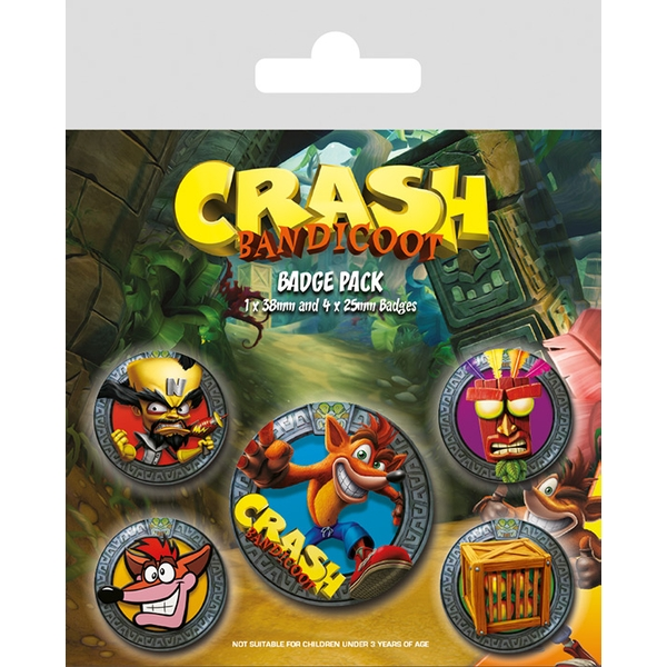 Crash Bandicoot - Pop Out Badge Pack - Image 1