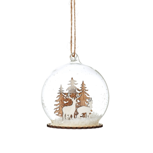 Sass & Belle Stags in Snow Mini Dome Bauble