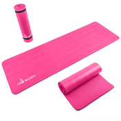 Proworks Large 10mm Thick Padded Yoga Mat With Carry Handle in Pink