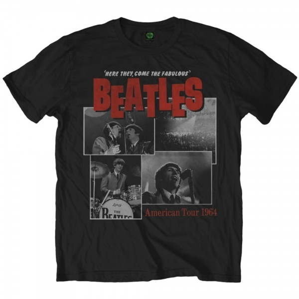 The Beatles Here They Come Mens Black T-Shirt Small