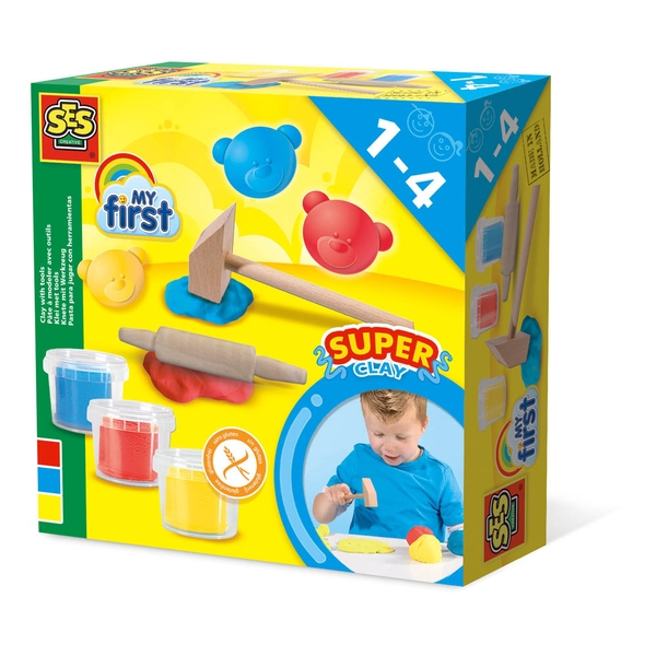 SES Creative - Children's My First Modelling Dough with Clay Tools Set 3 Pots (Multi-colour)