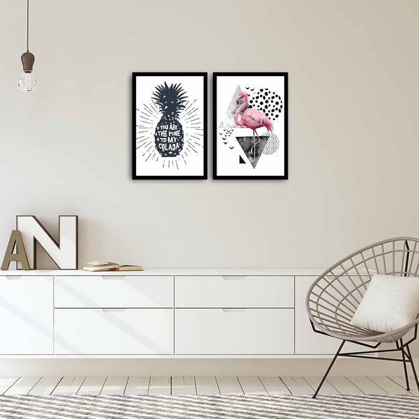 2PSCT-04 Multicolor Decorative Framed MDF Painting (2 Pieces)