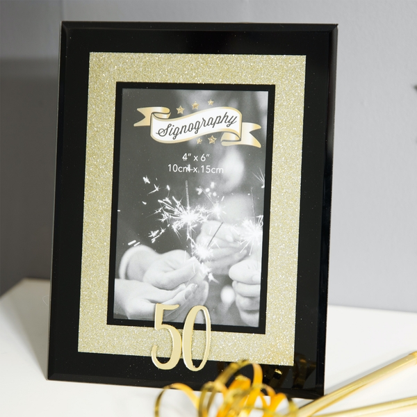 """4"""" x 6"""" - Signography Gold Glitter Glass Frame - 50"""