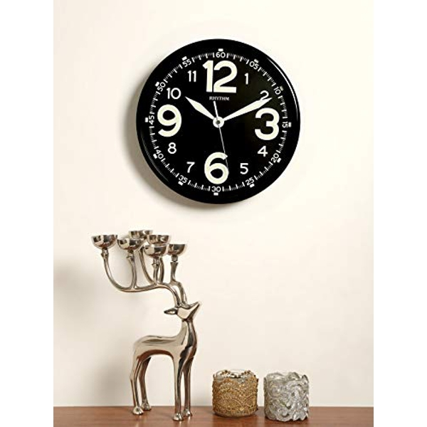 Rhythm Luminous Dial Black Wall Clock