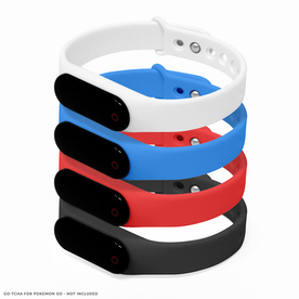GO-TCHA Wristband Straps for Pokemon Go (Wristband Only) 4 Pack (Black/Blue/Red/White)