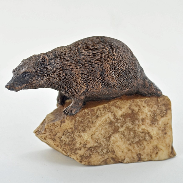 Nature Badger On Stone Cold Cast Bronze Sculpture 8cm