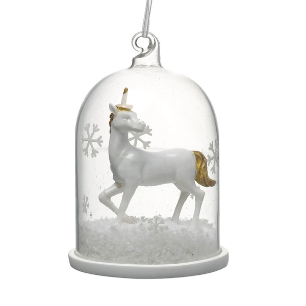 White Glass Unicorn In Clear Glass Dome Decoration by Heaven Sends
