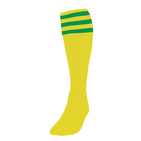 Precision 3 Stripe Football Socks Yellow/Emerald UK Size 7-11