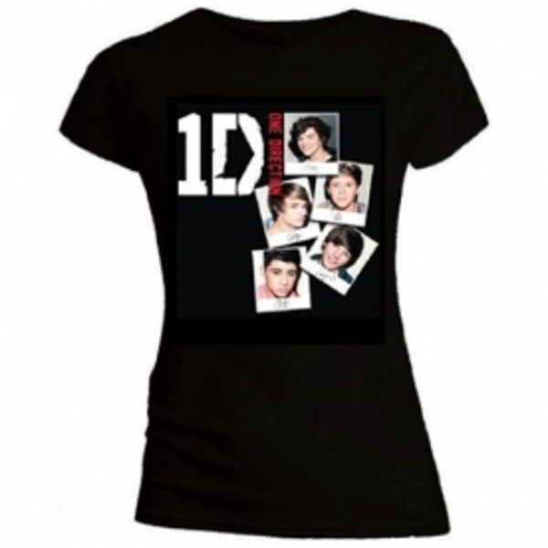 One Direction Photo Stack Skinny Black T-Shirt Large
