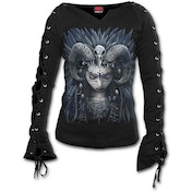 Raven Queen Women's X-Large Laceup Sleeve Top - Black