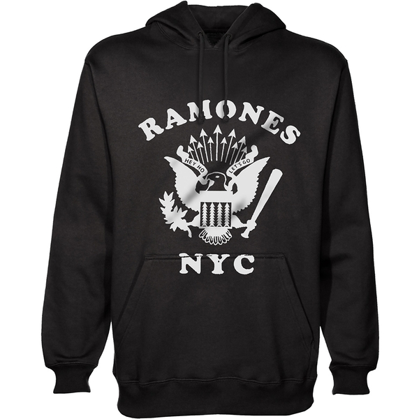 Ramones - Retro Eagle New York City Unisex Small Pullover Hoodie - Black
