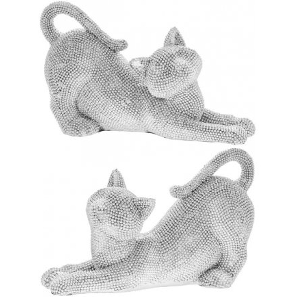 Diamonte Covered Stretched Cat Figures 23cm (1 Random Supplied)