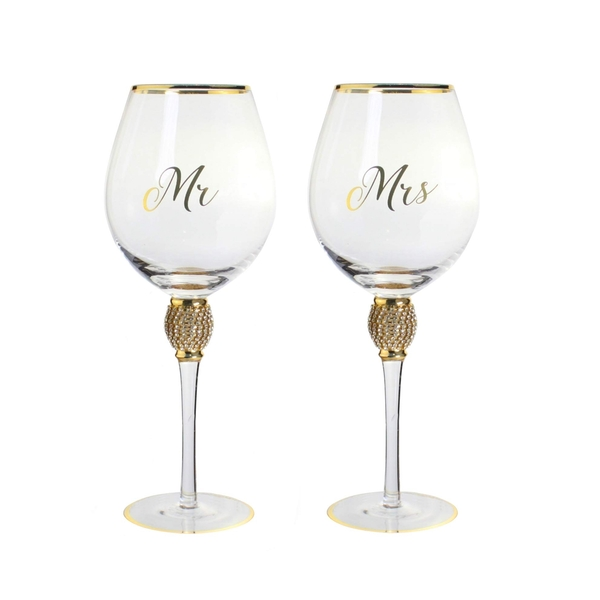 Mr&Mrs Diamante Wine Glass Gold By Lesser & Pavey
