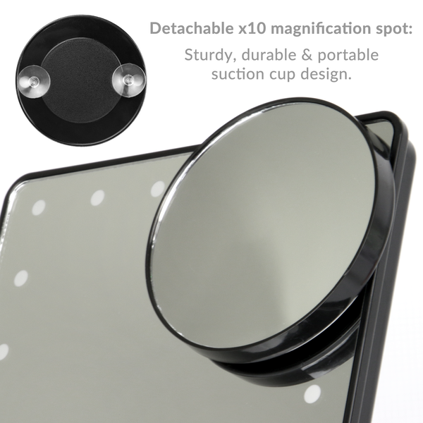LED Light Up Illuminated Make Up Bathroom Mirror With Magnifier | M&W Black New - Image 4