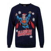 Superman Hero Unisex Small Christmas Jumper - Blue
