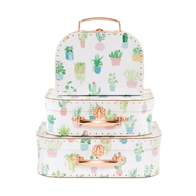 Sass & Belle Pastel Cactus Suitcases (Set of 3)