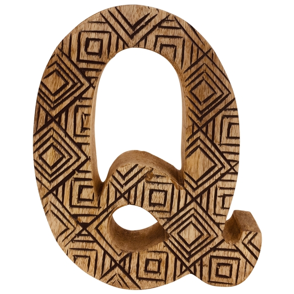 Letter Q Hand Carved Wooden Geometric