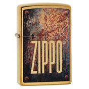 Zippo Rusty Plate Design Brass Regular Windproof Lighter