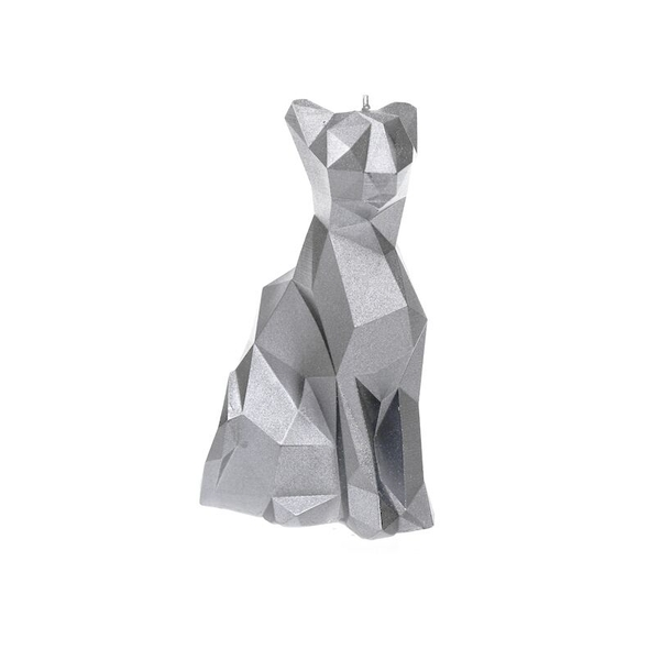 Silver Low Poly Cat Candle