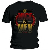 Of Mice & Men Wreath Red & Gold Mens Blk T Shirt: X Large