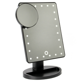 LED Light Up Illuminated Make Up Bathroom Mirror With Magnifier | Pukkr Black