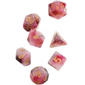 Pink & Black & Red Marble Polyhedral Dice Set