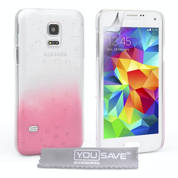 huge discount 852da 7e3f6 YouSave Accessories Samsung Galaxy S5 Mini Raindrop Case - Baby Pink-Clear  - 365games.co.uk