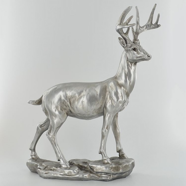 Antique Silver Large Stag Ornament