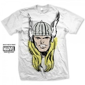 Marvel Comics Thor Big Head Distressed Mens White T-Shirt XX Large