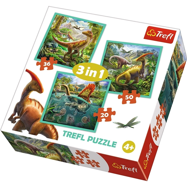 3 In 1 The Extraordinary World Of Dinosaurs Jigsaw Puzzle - 50 Pieces