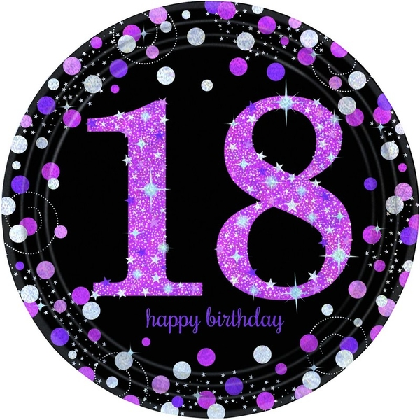 18th Birthday Paper Plates Glittery Pink (Pack Of 8)