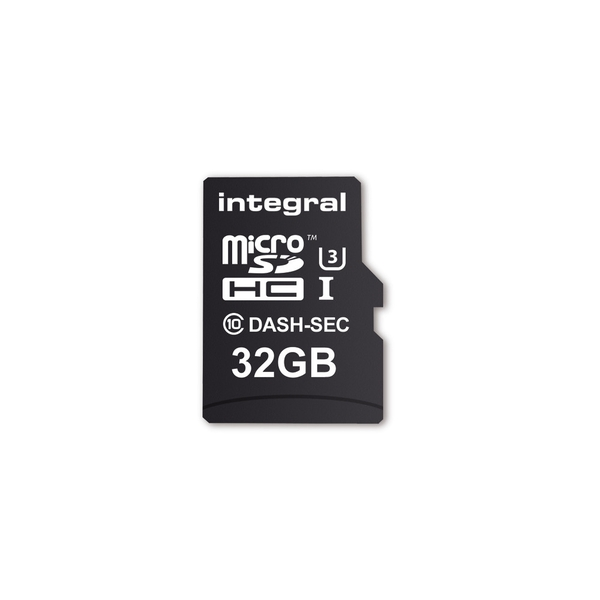 Image of Integral 32GB Micro SD Card MicroSDHC Cl10 U3 R-95 W-60 Mb/S + Adapter Dash & Security Cam