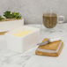 White Porcelain Butter Dish with Knife | M&W - Image 4