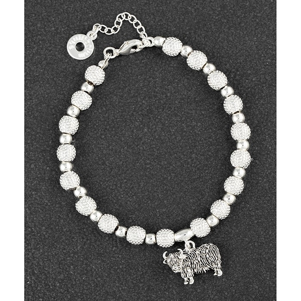 Highland Coo Silver Plated Charm Bracelet