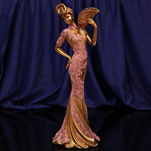 Raffles Collection Lady Figurine Bronze & Pink Finish 34cm