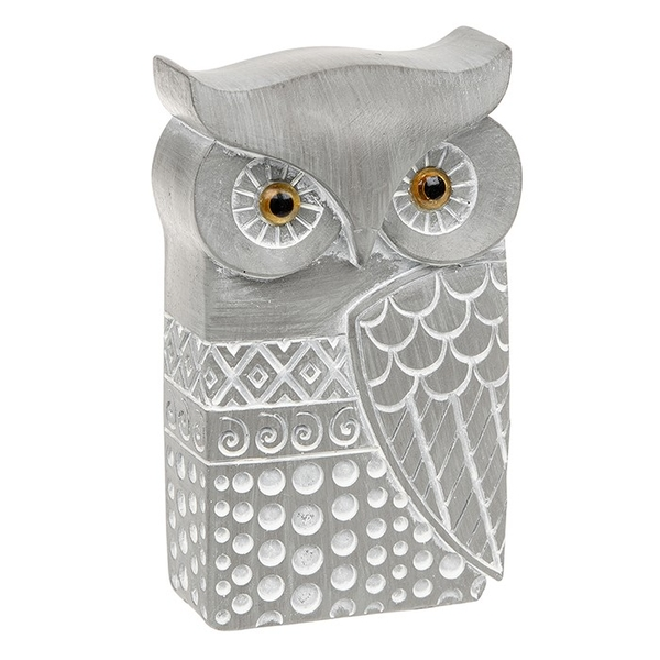 Country Grey Modern Owl Small Ornament