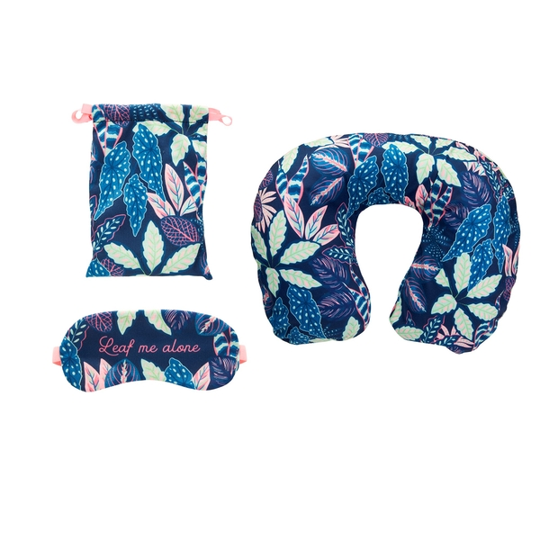Sass & Belle Variegated Leaves Travel Pillow and Eye Mask Set