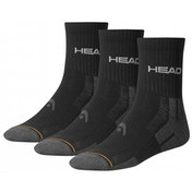 Head Short Crew Socks 35/38 Black PK3