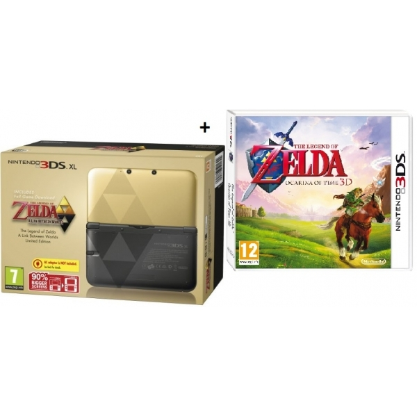Limited edition zelda nintendo 3ds xl console with the legend of zelda a link between worlds - Ocarina of time 3ds console ...