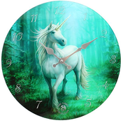 Forest Unicorn Glass Wall Clock by Anne Stokes