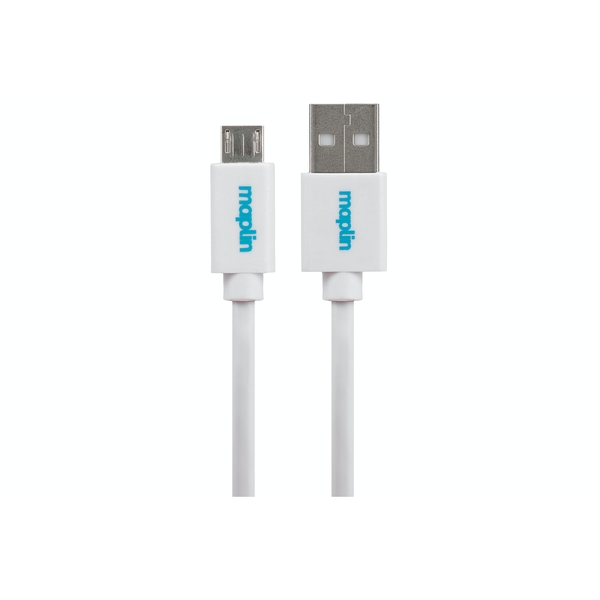 Maplin Premium USB A 2.0 Male to Micro USB B Male Cable 3m White