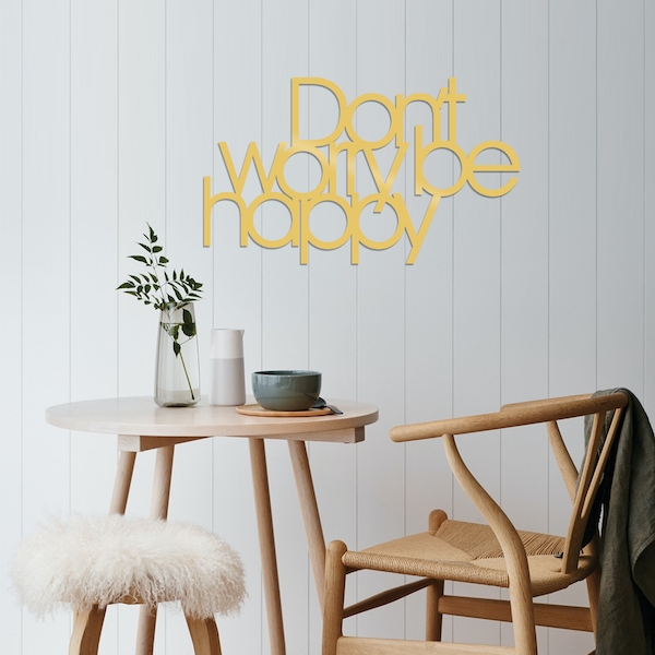 Dont Worry Be Happy - Gold Gold Decorative Metal Wall Accessory