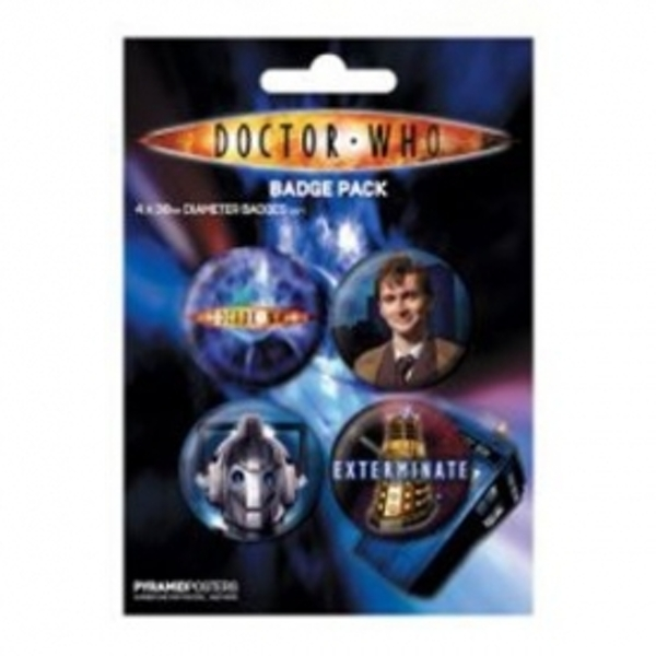 Doctor Who Cyberman, Dalek, Dr & Vortex Badge Pack