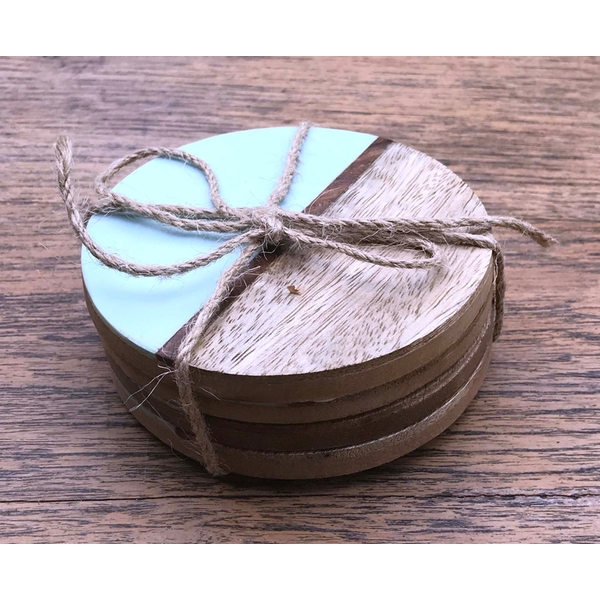 Set Of 4 Round Two Toned Wooden Coasters - Blue