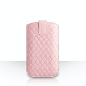 Caseflex Diamond Pattern Leather-Effect Auto Return Pull Tab Pouch (L) - Baby Pink