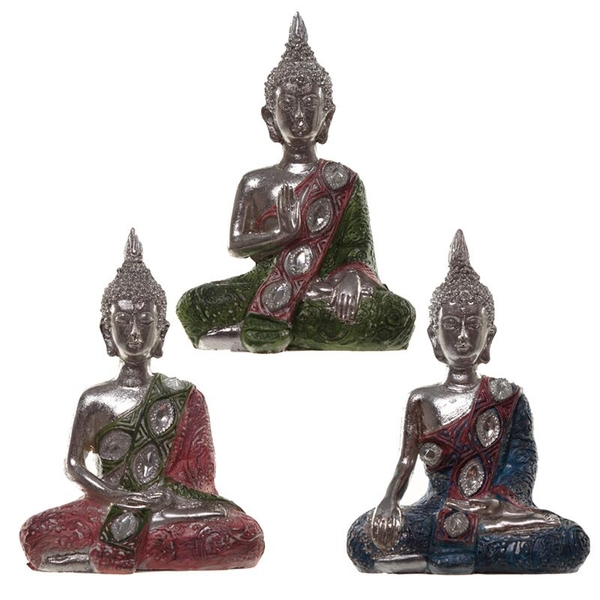 Metallic Lotus Thai Buddha Figurine (1 Random Supplied)