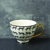 Animal Luxe Footed Mug All Over Leopard Print Black with Gold Handle