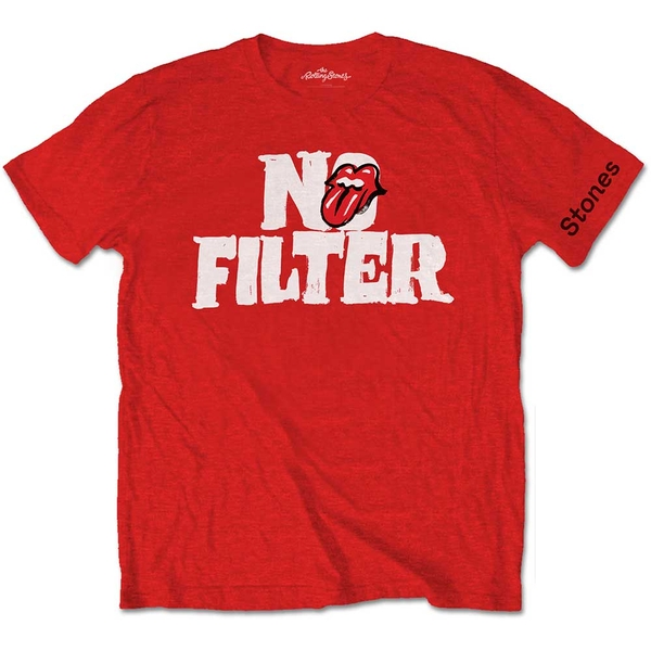 The Rolling Stones - No Filter Header Logo Unisex Small T-Shirt - Red