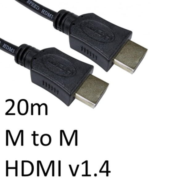 HDMI 1.4 (M) to HDMI 1.4 (M) 20m Black OEM Display Cable - Image 1